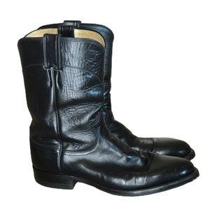 Justin 3133  Roper Kipskin Black Leather Boots 9 D